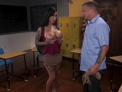 Sex-starved student Lily Lane is tied up and face fucked by kinky teacher
