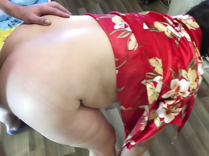 Stepmother went about business son fucked her in anal sex.