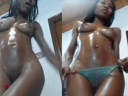 Athletic Colombian squirts milk from her perfect small tits