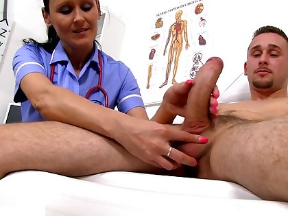 Sperm Hospital - Skinny Mature Doctor Nora and Patient