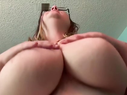 POV Amateur BBW Brunette Riding Daddy's Cock with Creampie