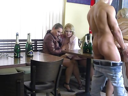 Intense sex at the bar with a strip of hot women