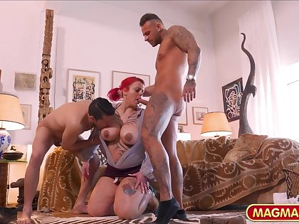 inked chubby mommy gangbang video