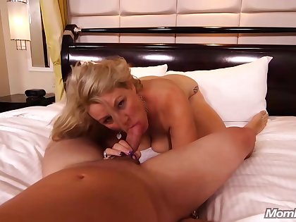 An amateur blonde milf is often having sex with guys she meets in various situations
