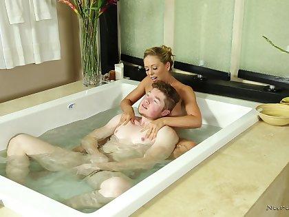 Erotic Nuru massage ends down a facial for loved Cherie DeVille