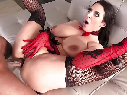 Amazing brunette in red lacy lingerie, Angela Washed out got down and dirty with Mandingo and liked it
