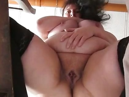 This mature trollop has some nice big belly and she masturbates like a pro