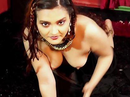 Dolon Black Saree solo Nude