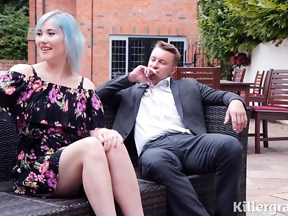 Misha Mayfair is sucking her married lovers dick and getting doublefucked in her huge garden