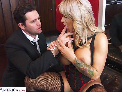 Domineer blonde MILF in black tights Alyssa Lynn feels right riding cock