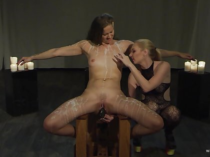 Lesbians use biting action for their foretell femdom play