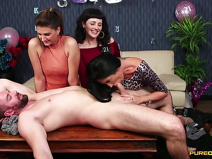 Clothed body of men play with huge dick at birthday party