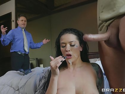 Nude murkiness swallows the terminated load from the delivery guy