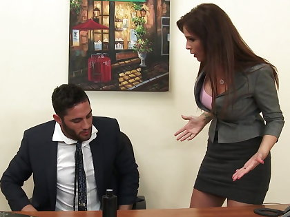 Sexy milf boss Syren De Mer exploits employee for detect hd