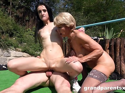 Gung-ho granny shares her old lover with a kinky younger chick