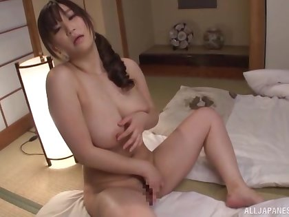 Perfect boobs Japanese girl opens her legs and fingers her cunt