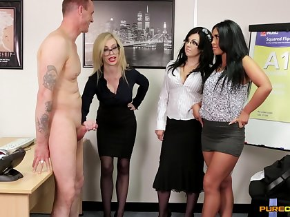 Chessie Kay and Hannah Shaw team prevalent near suck a dick of their boss