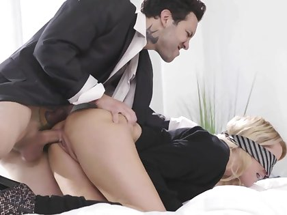 Torrid slender blonde spreads feet letting man fuck say no to mish