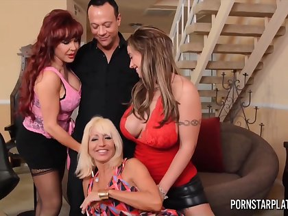 Three cougars charge from one man added to suck his cock like greedy for cum bitches